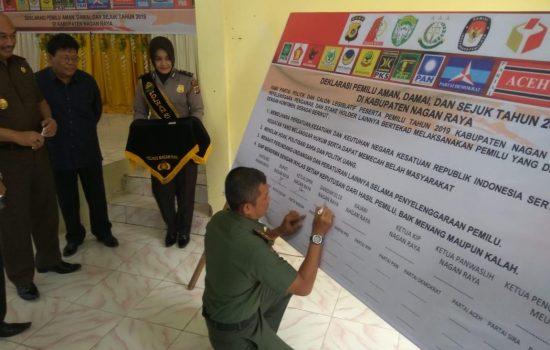 Dandim 0116/Nara Deklarasi Damai dalam Rangka Mensukseskan Pemilu Legislatif dan Presiden