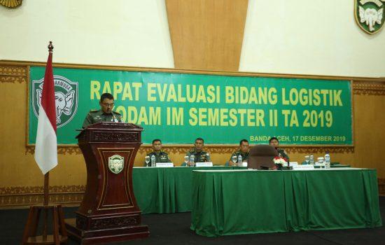Aslog Kasdam IM Buka Rapat Evaluasi Bidang Logistik Semester II Kodam IM TA. 2019