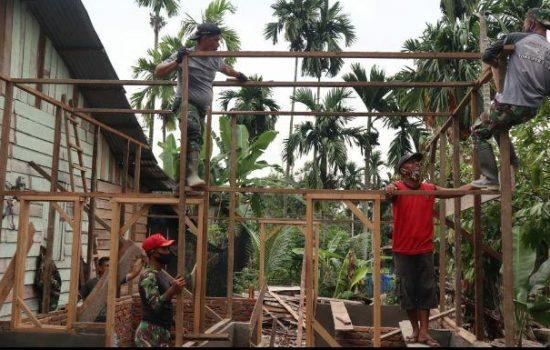 Dirgahayu TNI Ke-75, Kodim Agara Rehap RTLH Milik Warga